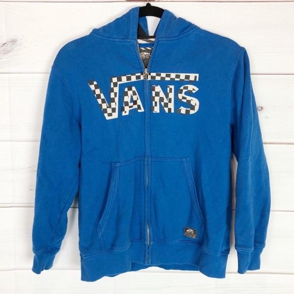 378a559c VANS blue zip up hoodie w checkered logo sz M